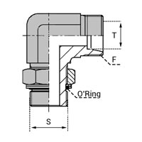 Coude orientable mâle UNF avec joint o'ring