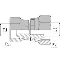Adaptateur femelle série 24° x femelle série 24° pré-serti